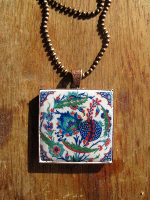 Turkish jewelry, Iznik tile design pendant necklace, Tribal necklace, folk art jewelry, copper, Tile design, $35.00