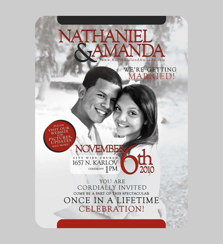 Front of Nathaniel and Amanda Cruz's Wedding Invitation