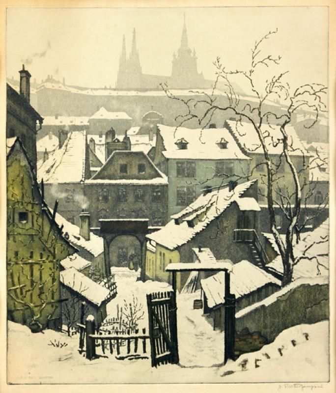 Old Prague | Jaromír Stretti-Zamponi | 38 × 32 cm, akvatinta