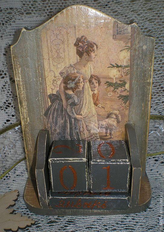 Вечный календарь Волшебство Рождества - серый,календарь,календарь ручной работы