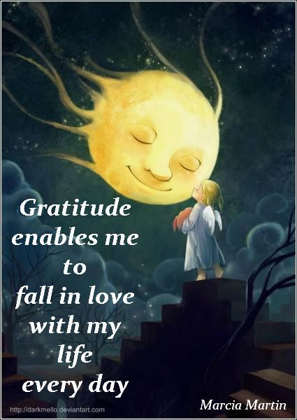 Gratitude enables me to fall in love with my life every day.