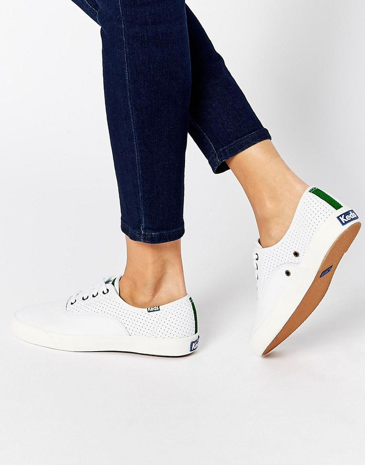 Image 1 ofKeds Triumph Sport White Perforated Leather Plimsoll Trainers