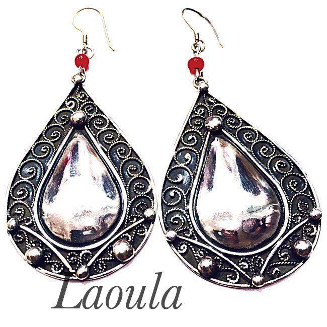 Boucles d'oreilles touareg argent ovale, bijoux ethniques rondes 258485