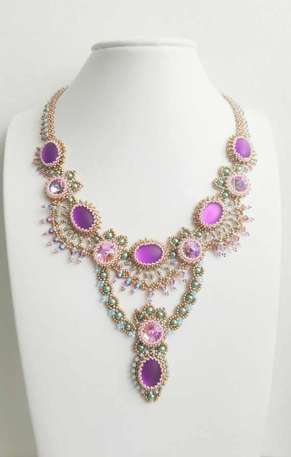 Purple elegant necklace holiday jewelry statement by CinziaDesign