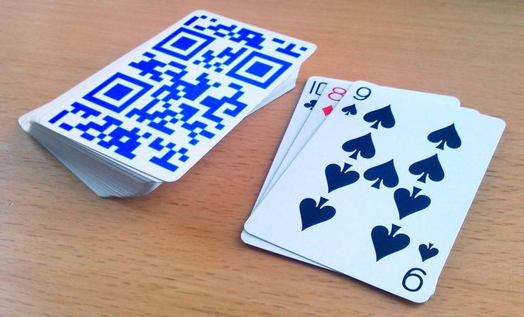 Playing cards with QR Codes on the back