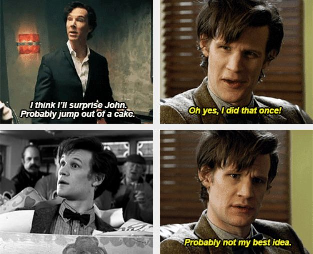Wholock - The Doctor and Sherlock discuss the delicate subject of jumping out of cakes.