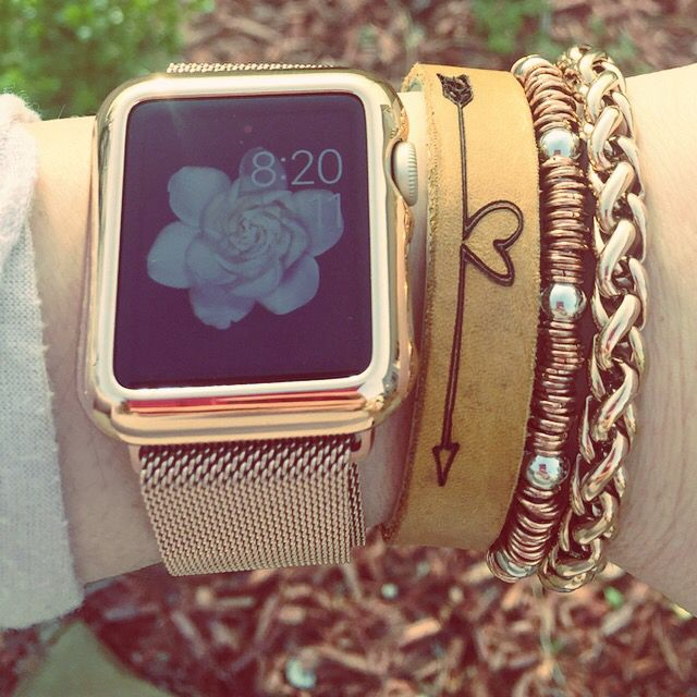 Rose gold with Apple Watch - Rustic Cuff