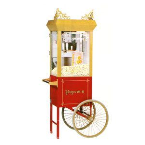 Popcorn Machine with Cart. Makes great theatre style popcorn!  Call for pricing on popcorn and bags.  You may return unopened supplies.