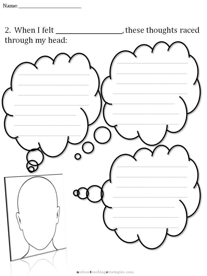 "CBT Thought Bubble Kit This is a set of pre-printed thought bubbles.  Half of them are ""Poison Thoughts"" (cognitive distortions) commonly encountered in children with ASD.  The other half are ""Antidote Thoughts"" that can be used to counter the automatic negative thoughts.  These have many applications in counseling and teaching children about upsetting emotions."