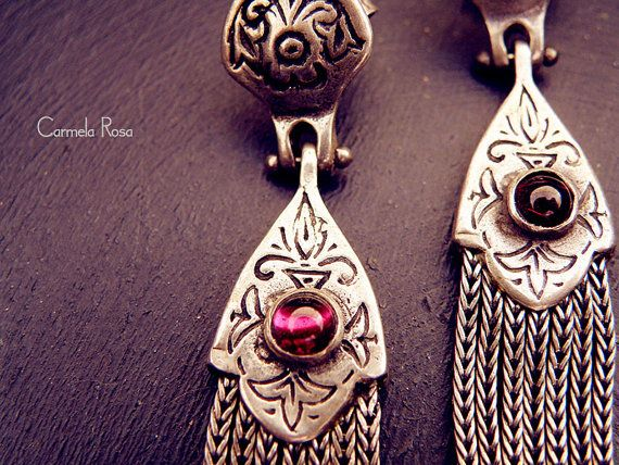 Greek Jewelry antique silver earrings ruby earrings by CarmelaRosa