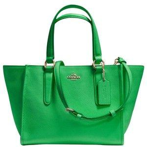 Treinador Crosby Mini Couro Carryall Tote Bag, Verde