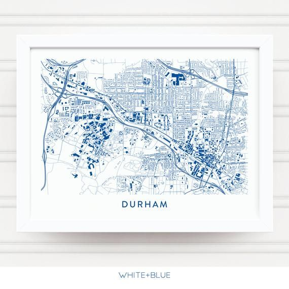 DURHAM NC Map Print / Duke Blue Devils Gifts / Duke University Gifts on