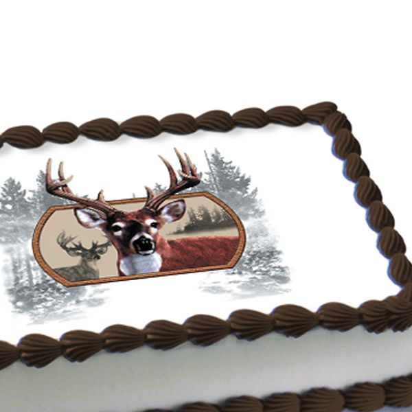 How cool is this? Remove the backing of this Deer Hunter Edible Image Cake Decoration, and place it on any iced sheet cake. Done!