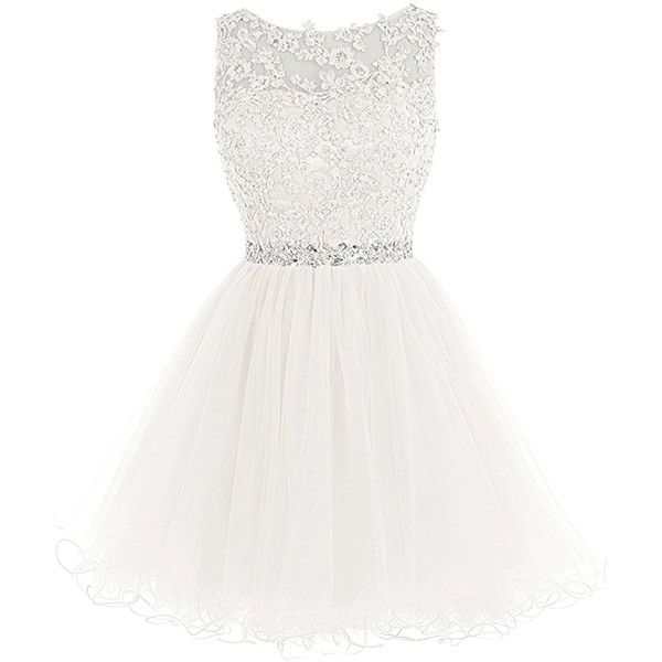 A-Line Sleeveless Lace Rhinestone Short Cocktail Party Dress ($15) ❤ liked on Polyvore featuring dresses, evening dresses, embellished cocktail dresses, lace cocktail dresses, white lace dress and white a line dress