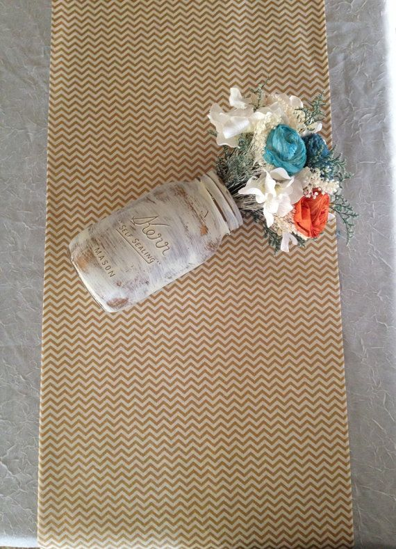 Gold table runners, mini Gold metallic and cream chevron cotton, wedding table runners, multi sizes, gold chevron table runners on Etsy, $16.00