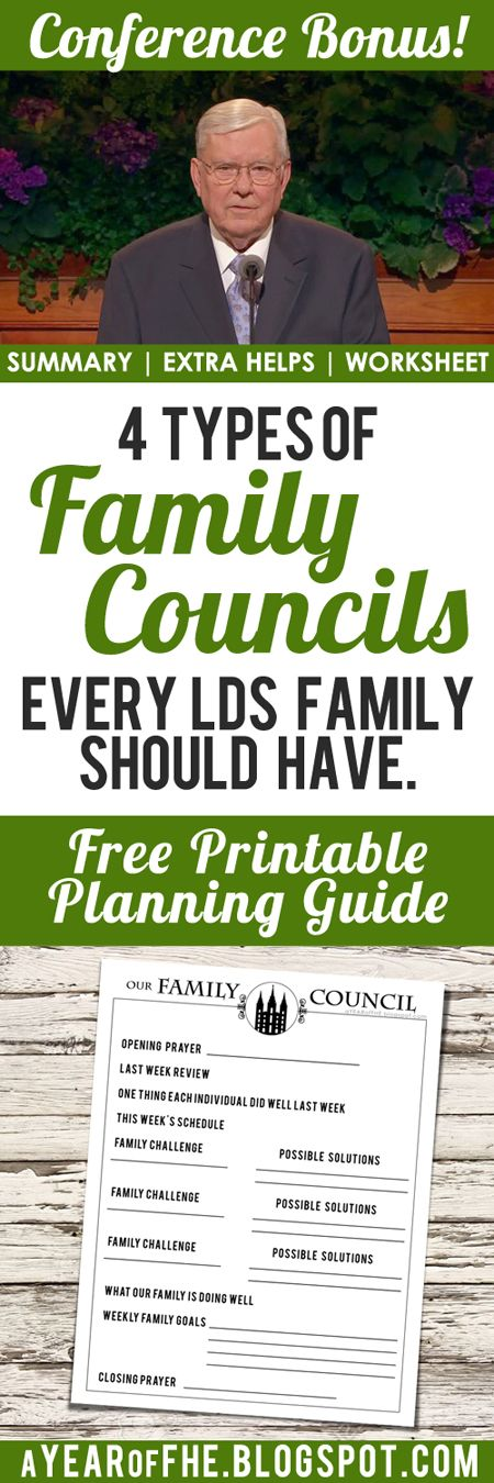 A Year of FHE // Summary, additional resources and FREE printable worksheet for Elder Ballard's talk on Family Councils. #fhe #lds #familyhomeevening #council