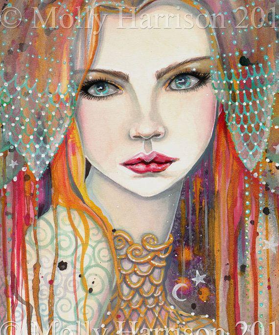 Gypsy Beautiful Woman Fantasy Portrait Fairy by MollyHarrisonArt