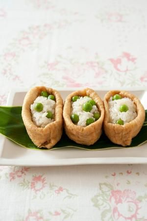 Green Peas Inarizushi, Pouch of Fried-Tofu Filled with Sushi Rice|グリーンピースの稲荷寿司