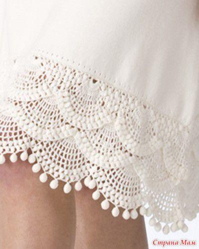 crochet edging.  Skirt? Pillowcase?