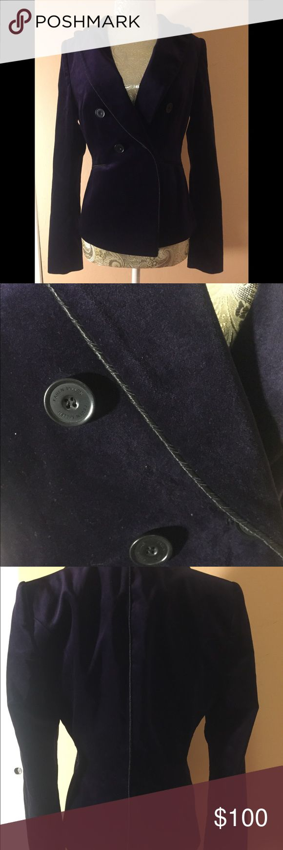 Karen Millen New Blazer Size 6 New Without Tags Karen Millen Blazer UK Size 8/US Size 6 Never worn. Dark Purple Velvet with black liner and black trim. Very Soft and tight fit and excellent condition never worn. According to tag Sample for November 2016 Collection. Handwritten Sample. Similar Blazer retails for £150 or approx $198. This is a very rare find that was gifted to me from the UK but unfortunately does not fit. Free Shipping, US buyers only. Karen Millen Jackets & Coats Blazers