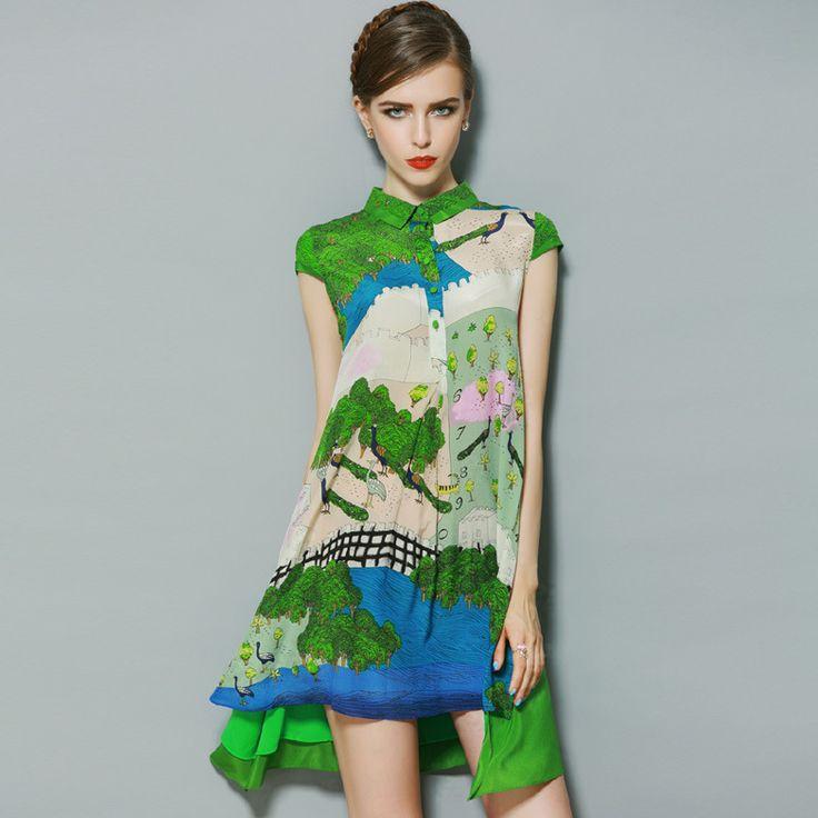 100% Шелк Женский Мода Зеленый Цветок, Цветочный Принт, Элегантный Богемный Бохо Тонкий Нерегулярные Короткий Рукав Платье Весна-Лето 2015