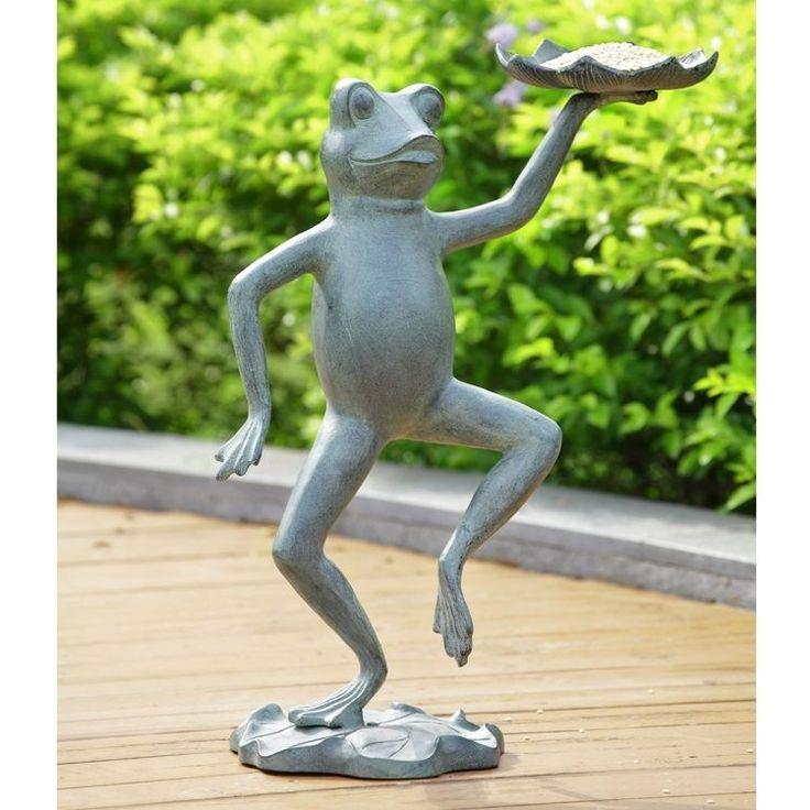 "Metal Bird Seed Feeder Squirrel Dancing Frog Holding Lilypad 20.5"" H, Yard Decor #Unbranded"