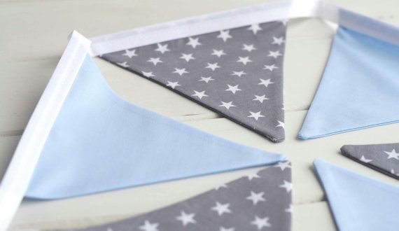 Blue and Grey Star Nursery Bunting by LinenandLaceHandmade on Etsy                                                                                                                                                      More