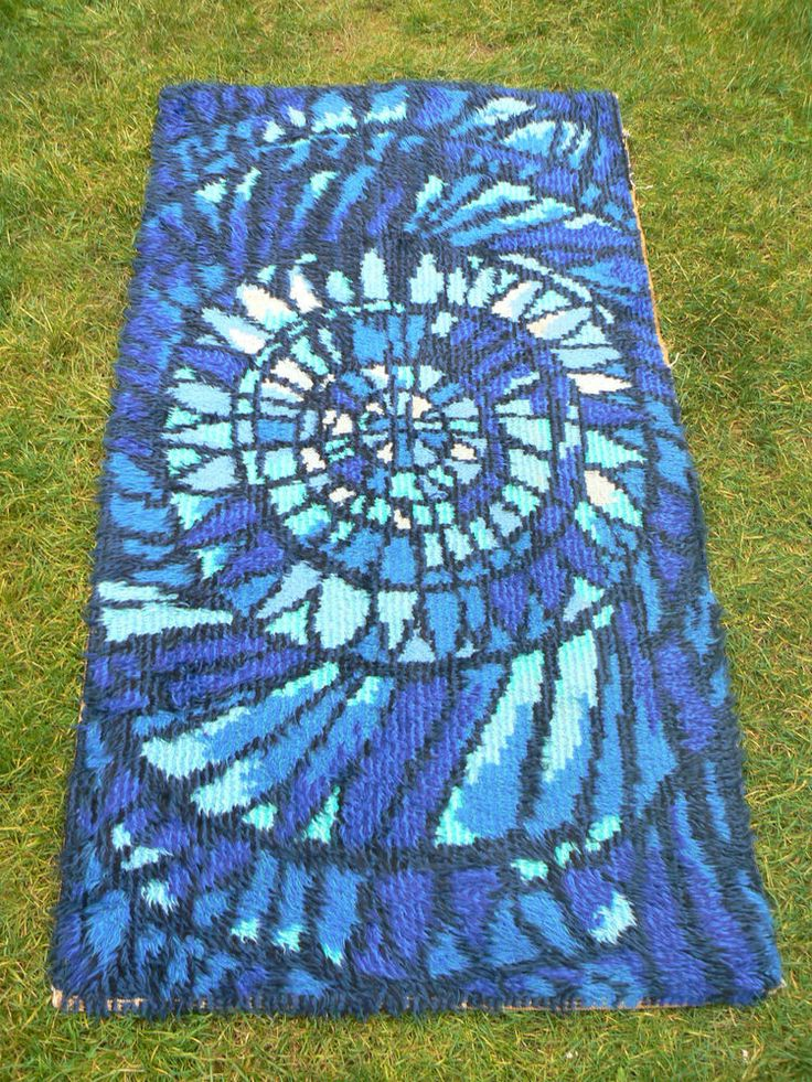 1960s Wool Scandinavian Rya Rug Blue 50s 70s Retro