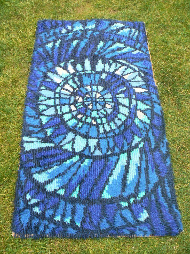 1960s Wool Scandinavian Rya Rug Blue 50s 70s Retro