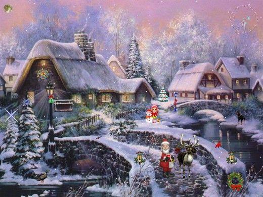 Animated Christmas Village Wallpaper