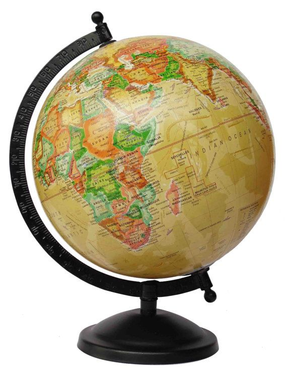 Inch Antique Globe With Black Metal Meridian And Base / Yellow Globe /  Geographical Globe / World Globe / Globe With Meridian/ Desk Globe. - 78 Best Globes Images On Pinterest Map Globe, Vintage Globe And