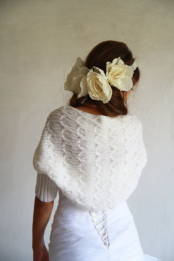 White Shrug / Bolero Knitted For Wedding / Occasion by BVLifeStyle