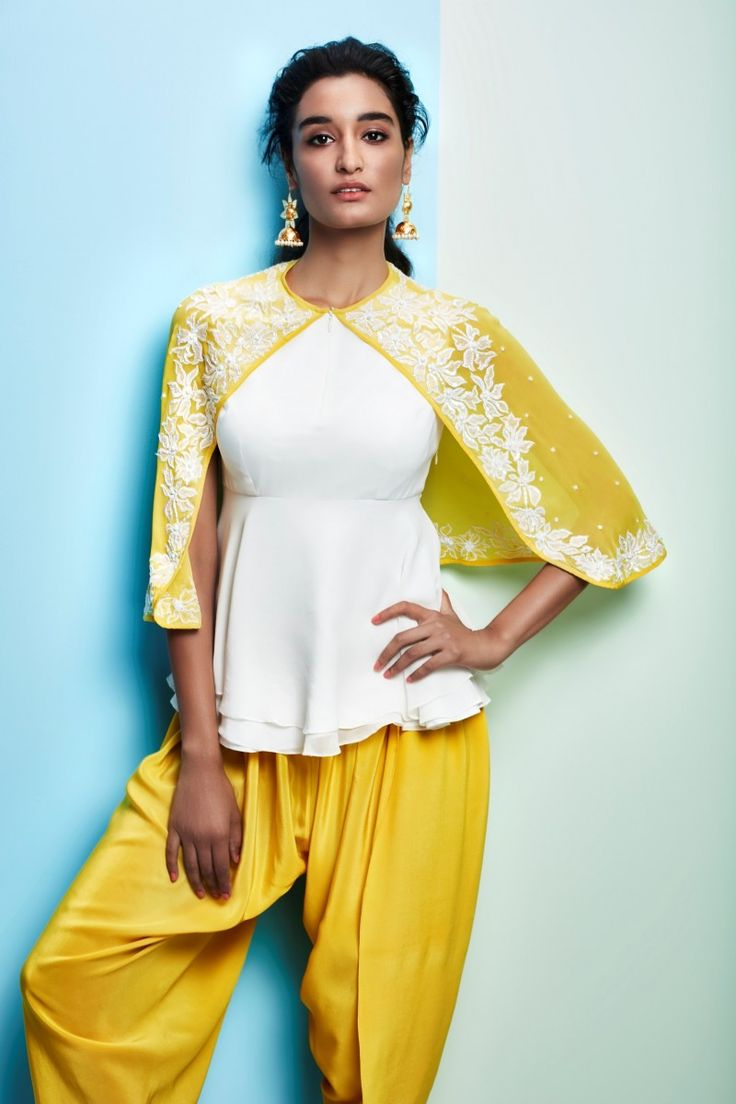 Cape top with dhoti pants