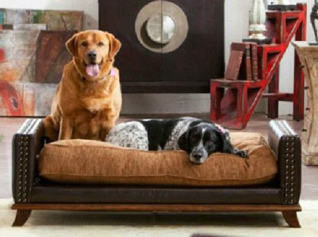 Designer Extra Large Classic Leather Dog / Pet Bed Masculine Luxury