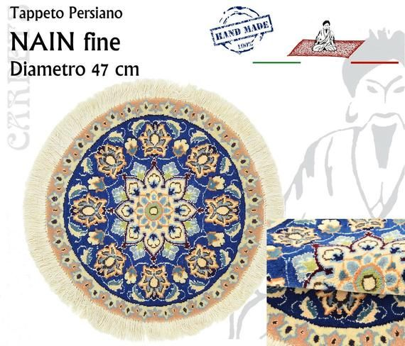 Tappeto Persiano Rotondo Nain Diametro 47cm Floreale Blu