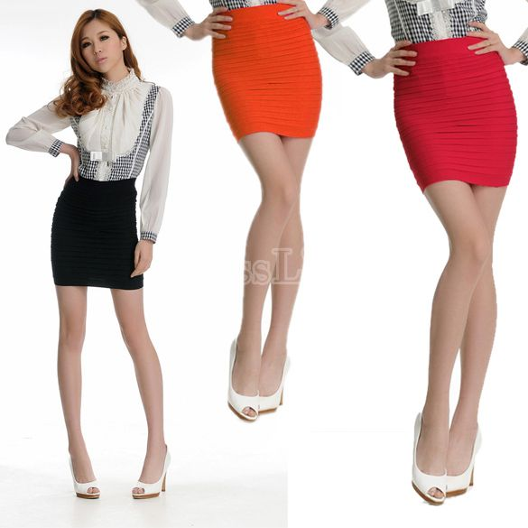 Women Slim Fit Bandage High or Low Waisted Stretch Mini Short Pleated Skirt
