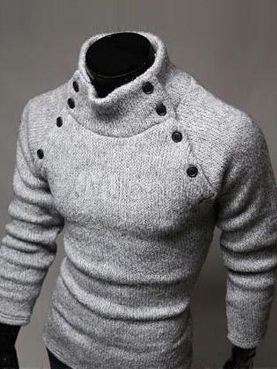 Pull en coton gris clair moulant de col roulé orné de bouton -No.3