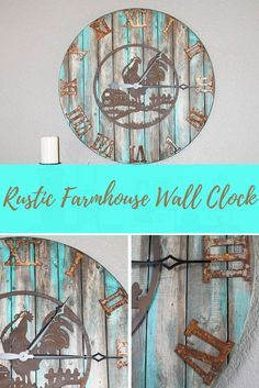 Perfect unique rustic farmhouse wall clock. Large size makes it the statement piece of your home. Perfect to get that #rustic #farmhouse look! DIY it or get it already made. (aff)