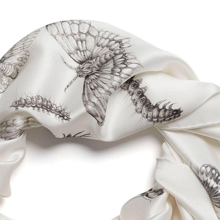 Silk scarf 90x90cm handpainted moth pattern