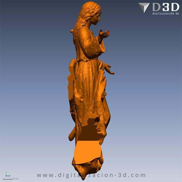 Modelo 3d de la Virgen - Lateral derecho
