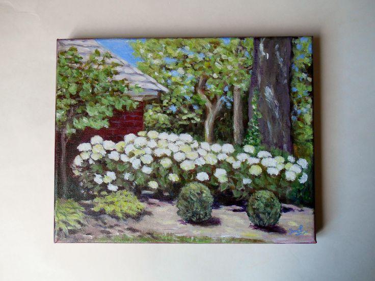 Original Plain Air Painting on 10 X 8 Canvas Landscape Painting Hydrangea Garden Flower Painting Still Life Niagara Park Summer Painting by SpiritualGiftGallery on Etsy