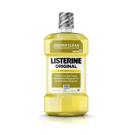 Original Listerine Antiseptic Mouthwash To Kill Bad Breath Germs, 500 ml, Blue