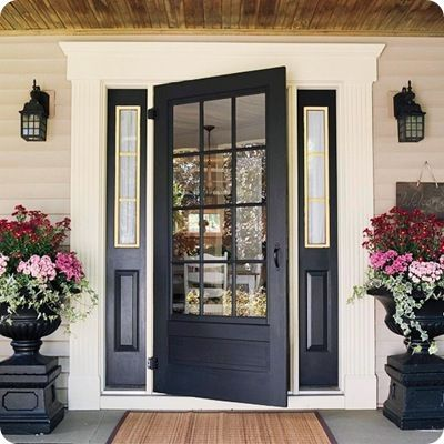 black glass front door. Can you even imagine all the glorious light shining in that house? I can.