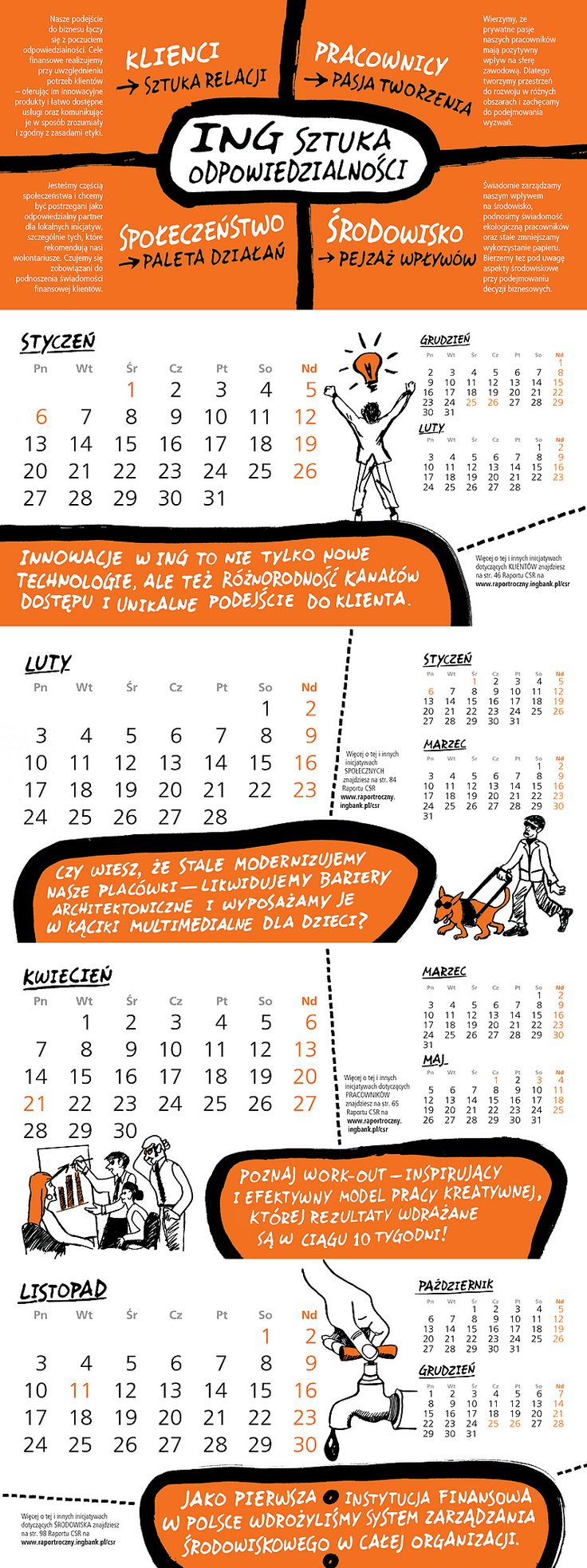 Calendar for ING Bank Slaski with dedicated typography and freehand drawings.