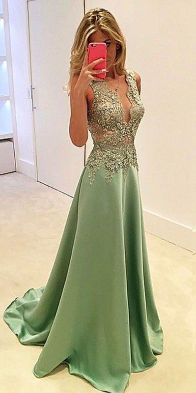 Unique green lace long prom dress, lace evening dress, green formal dress for teens