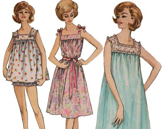 Vintage Nightie Baby Doll Pajamas SIMPLICITY by ThePerfectPattern