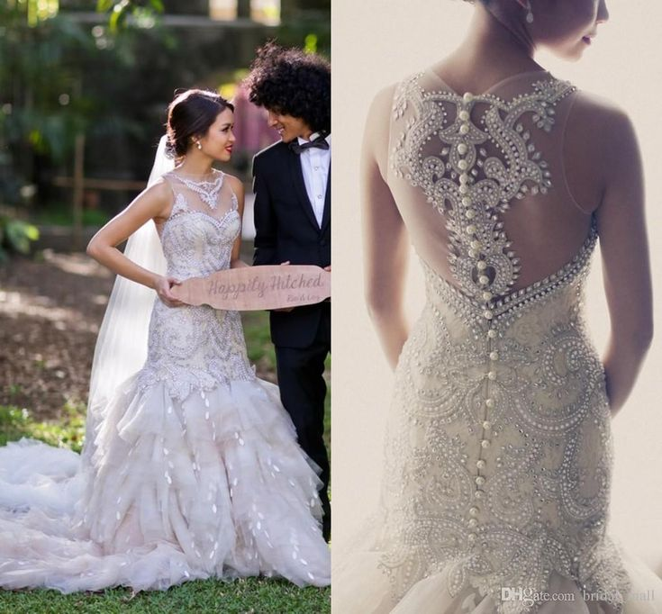 Dh Gate Hot Luxury Wedding Sheer Neck Mermaid With Full Beads Pearl Court