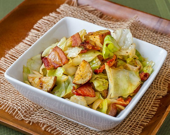 Sauteed Cabbage with Bacon and Roasted Potatoes