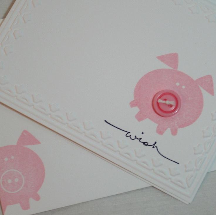 Button Buddies Pig Wish Card. $3.50, via Etsy.