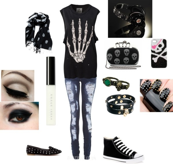 """skull outfit"" by emo-pikachu-girl. I would use all of this except the skull phone case and the bag."